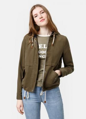 Укороченная легкая куртка OSTIN. Цвет: хаки