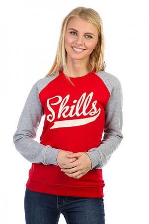 Толстовка классическая женская  Classic Red/Grey Skills. Цвет: серый,красный