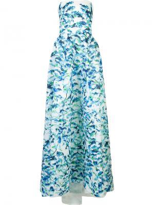 Вечернее платье без бретелек Monique Lhuillier. Цвет: синий