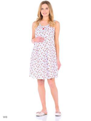 Сорочка женская для беременных и кормящих Hunny Mammy. Цвет: красный, белый