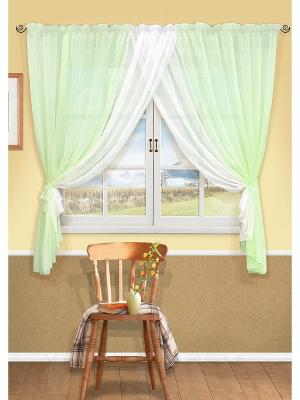 Комплект штор Aquarelle-S Kauffort. Цвет: зеленый