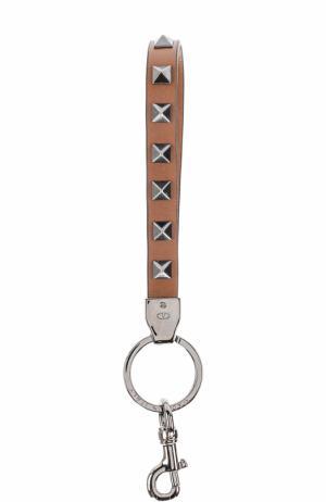 Кожаный брелок для ключей  Garavani Rockstud Valentino. Цвет: коричневый