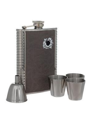 Набор S.Quire: фляга ,стаканчики 30 мл и  воронка 40 мм S.QUIRE. Цвет: серый, серебристый