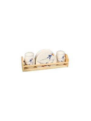 Набор для специй Гусь  в п/у Elff Ceramics. Цвет: белый, голубой