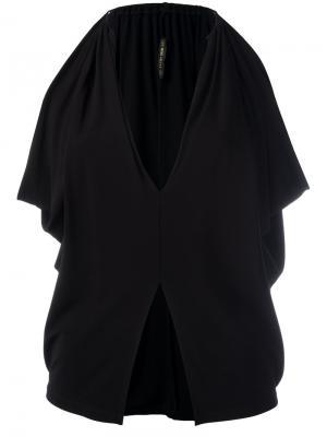 Блузка со шлицей спереди Plein Sud. Цвет: чёрный