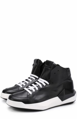 Высокие кожаные кеды на шнуровке с молнией Cinzia Araia. Цвет: черный