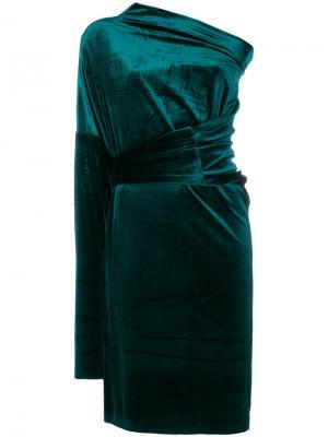 Асимметричное платье Norma Kamali. Цвет: зелёный