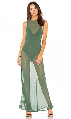 Макси платье olivia MAJORELLE. Цвет: зеленый