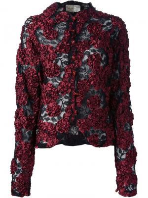 Куртка с кружевной цветочной аппликацией Krizia Vintage. Цвет: чёрный