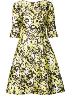 Платье с цветочным принтом Oscar de la Renta. Цвет: жёлтый и оранжевый