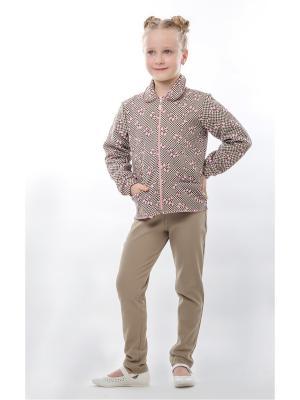 Куртка Пиджак ТОДЕКС. Цвет: темно-коричневый, бежевый, розовый