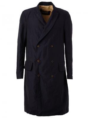 Двубортное пальто Uma Wang. Цвет: синий