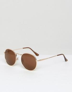 AJ Morgan Круглые солнцезащитные очки. Цвет: золотой