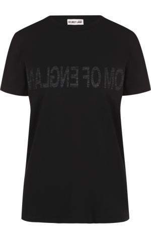 Хлопковая футболка прямого кроя с круглым вырезом Helmut Lang. Цвет: черный