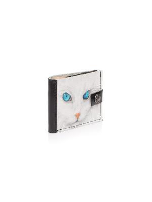 Портмоне Белая кошка Eshemoda. Цвет: черный