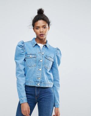 Chorus Укороченная свободная джинсовая куртка. Цвет: синий