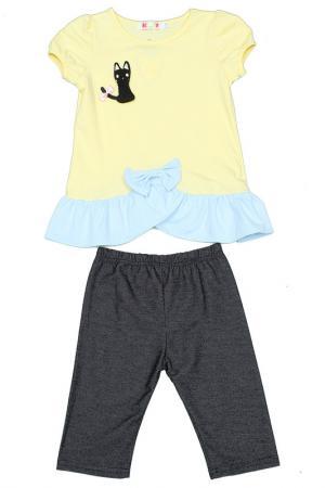 Комплект: туника, бриджи Kidly. Цвет: желто-голубой