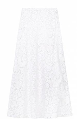 Кружевная юбка-макси Valentino. Цвет: белый