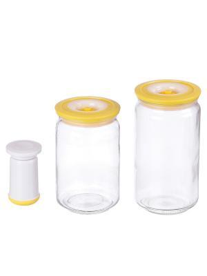 Набор вакуумных банок с насосом, 0,75/1 л BAYERHOFF. Цвет: желтый