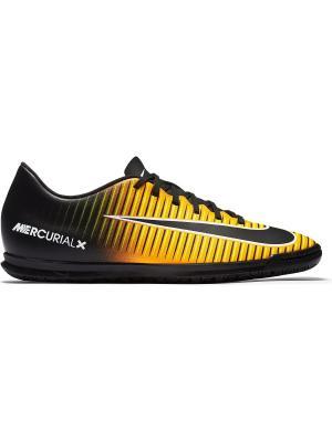 Кеды для зала MERCURIALX VORTEX III IC Nike. Цвет: оранжевый, белый, черный