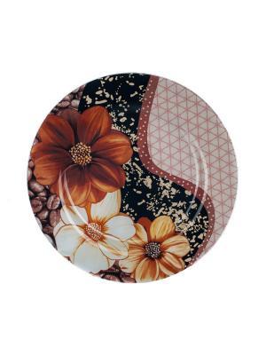 Тарелка 25 см Elff Ceramics. Цвет: черный, коричневый, белый