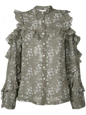 Рубашка с рюшами и цветочным узором Robert Rodriguez. Цвет: зелёный