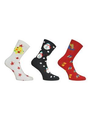 Носки, 3 пары Master Socks. Цвет: белый, черный, красный