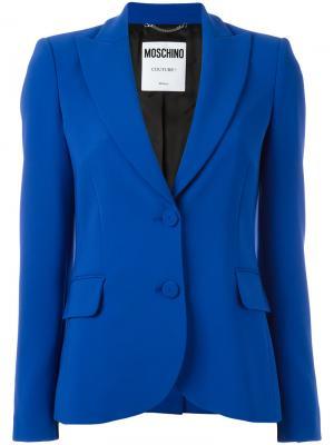 Пиджак с заостренными лацканами Moschino. Цвет: синий