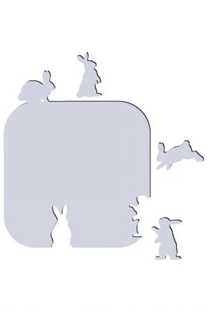 Зеркало Зайцы-попрагайцы W-ERA. Цвет: зеркальный