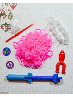 Набор резинок для плетения 500 крючок большой станок рогатка S-зажимы брелоки Loom Bands. Цвет: розовый