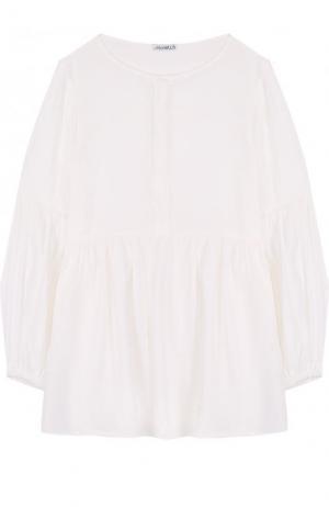 Блуза свободного кроя с круглым вырезом Simonetta. Цвет: белый