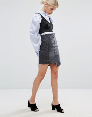 Zacro Мини-юбка в полоску со ступенчатым низом. Цвет: черный