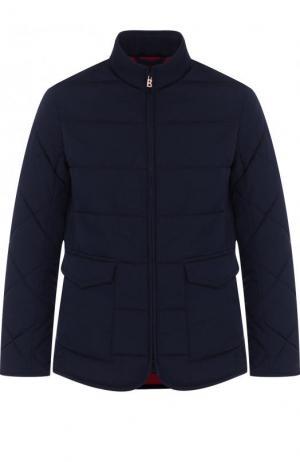 Стеганая куртка на молнии с воротником-стойкой Bogner. Цвет: темно-синий