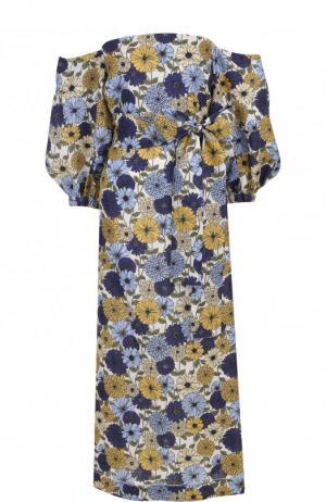 Приталенное льняное платье-миди с принтом Lisa Marie Fernandez. Цвет: разноцветный