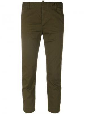 Укороченные брюки  Cool Girl Dsquared2. Цвет: зелёный