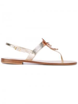 Декорированные сандалии Lisa C Bijoux. Цвет: телесный