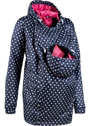 Мода для беременных: куртка на межсезонье со вставкой малыша (темно-синий/белый в горошек) bonprix. Цвет: темно-синий/белый в горошек