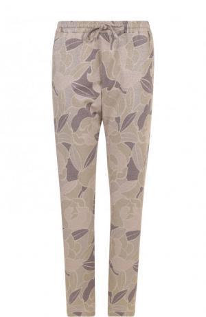 Укороченные брюки с принтом и эластичным поясом Dries Van Noten. Цвет: бежевый
