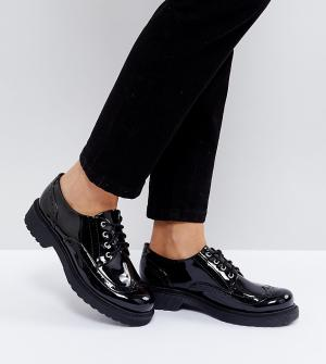 Monki Лакированные броги на шнуровке. Цвет: черный
