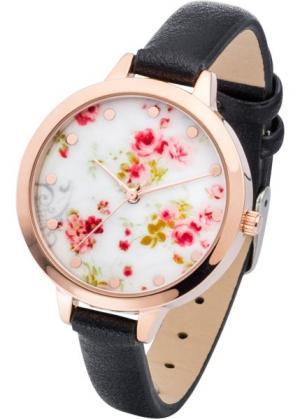 Наручные часы с цветочным мотивом (черный) bonprix. Цвет: черный