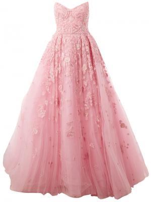 Расклешенное вечернее платье Zuhair Murad. Цвет: розовый и фиолетовый