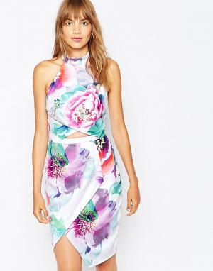 Suboo Платье с запахом и лямкой через шею из ткани понте Hybrid Peony. Цвет: мульти