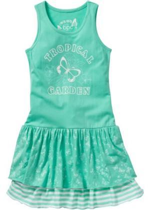 Трикотажное платье (нежно-бирюзовый) bonprix. Цвет: нежно-бирюзовый