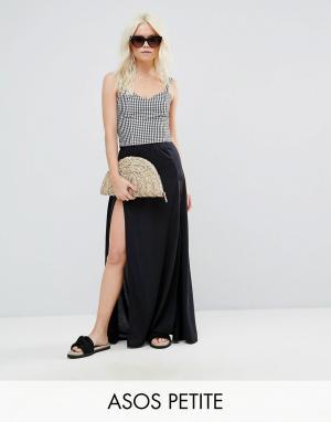 ASOS Petite Пляжная юбка макси с разрезами по бокам. Цвет: черный