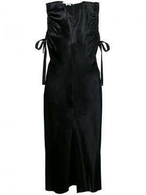 Платье миди без рукавов с оборками Helmut Lang. Цвет: чёрный