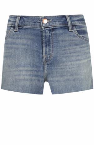 Джинсовые мини-шорты с потертостями J Brand. Цвет: синий
