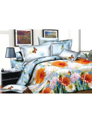 Комплект постельного белья Ля Мур. Цвет: голубой, оранжевый