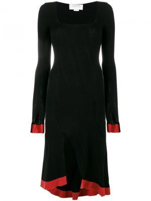 Трикотажное платье с квадратным вырезом и асимметричным подолом Esteban Cortazar. Цвет: чёрный