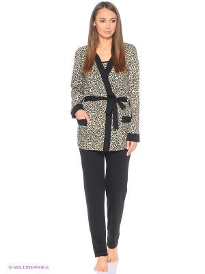 Комплект домашний (халат, майка, брюки) MARSOFINA. Цвет: коричневый, молочный, черный