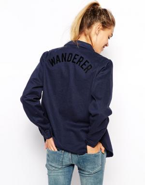 Джинсовая рубашка с принтом на спине Afends. Цвет: синий